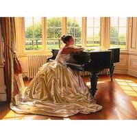 Diy Diamond Painting Beauty And Piano Diamond Embroidery 3D Full Square Diamond Mosaic Rhinestone Living Room
