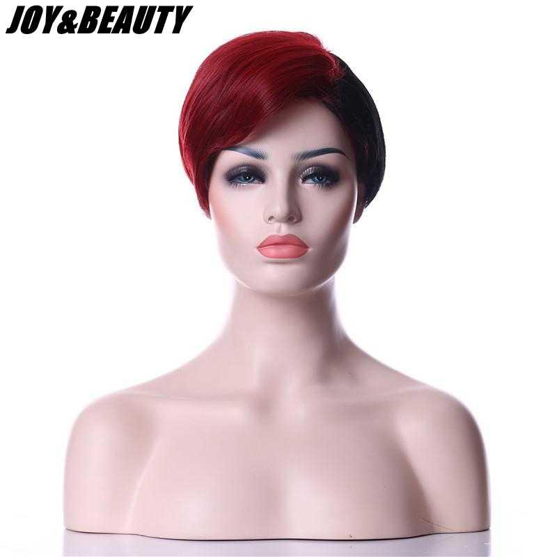 """SEVINÇ ve GÜZELLIK 10 """"Kısa Peruk Siyah/Altın Siyah Kırmızı Kadınlar Doğal Düz Sentetik Saç Peruk Isıya Dayanıklı Cosplay peruk"""