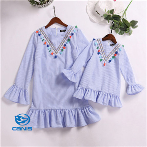 Mother Daughter Women Toddler Kids Baby Girls Matching Striped Long Sleeve Cotton Boho Ruffle Dress Family Clothes Outfits