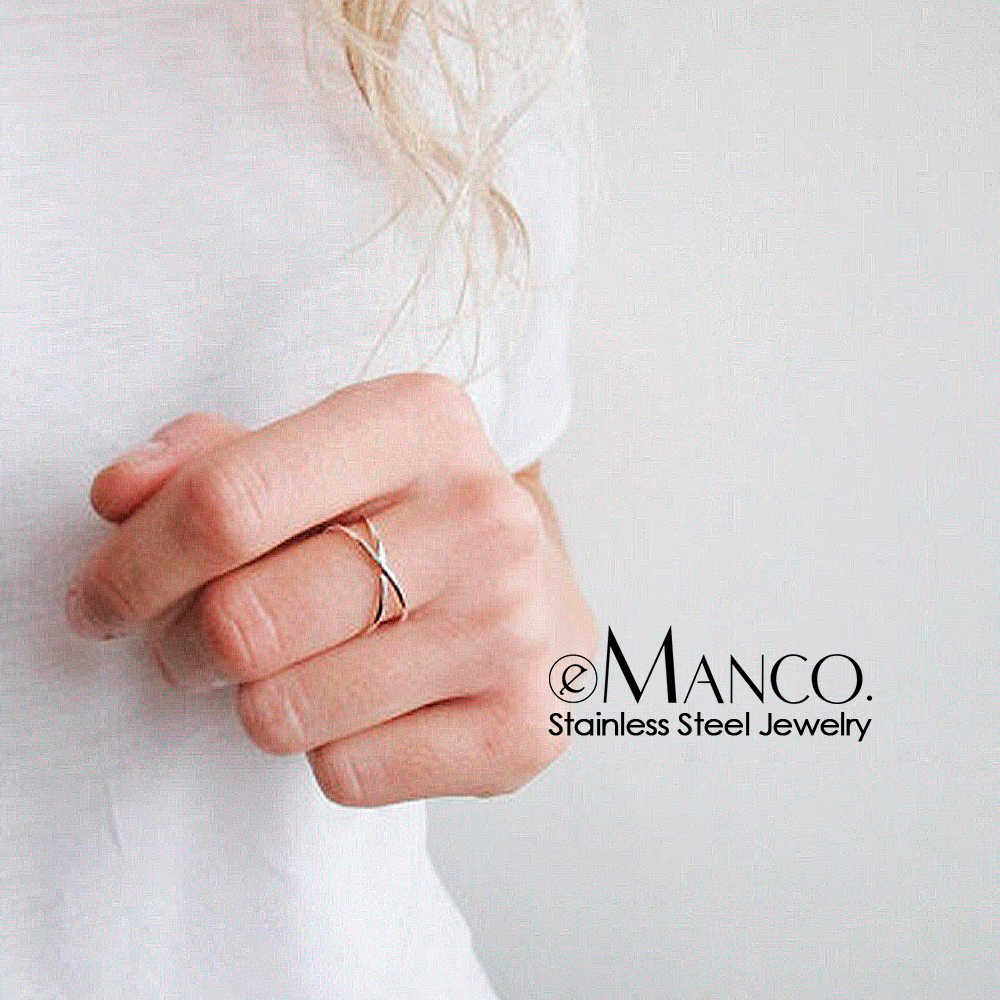 e-Manco stainless steel rings for women Fashion Design Statement Rose Gold Color Ring Trendy wave ring	fashion jewelry