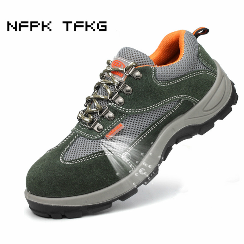 large size men's fashion breathable steel toe caps working safety shoes building site worker dress security boots anti-puncture все цены