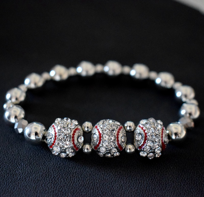 Silver Rhinestone Baseball Bracelet Bead Charm Bangle Elastic Sports Wristband Sporty Jewelry Team Souvenirs Gift 1PCS