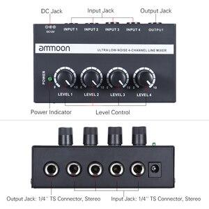 Image 3 - Ammoon MX400 4 채널 믹서 초소형 저잡음 4 채널 라인 모노 오디오 믹서 (전원 어댑터 포함)