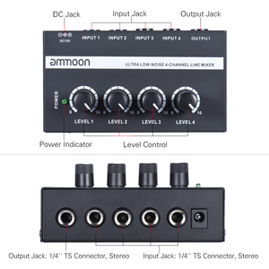 Image 3 - ammoon MX400 4 Channels Mixer Ultra compact Low Noise 4 Channels Line Mono Audio Mixer with Power Adapter