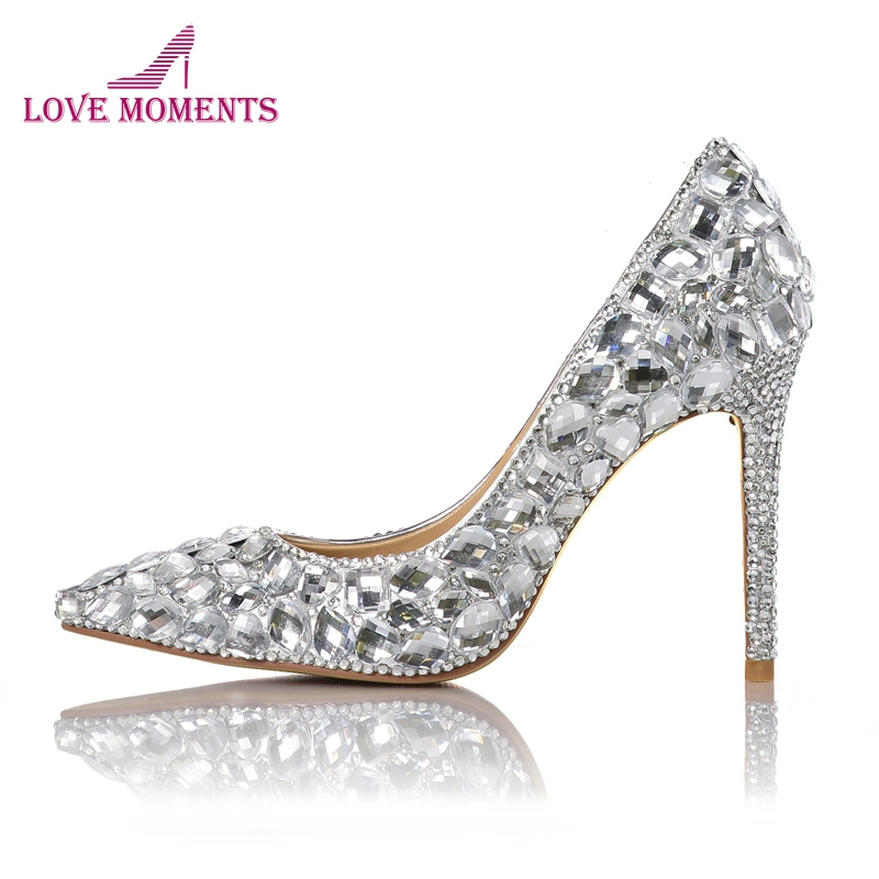 Pointed Toe 4 Inches High Heel Wedding Shoes Bling Bling Silver Rhienstone Matric Graduate Farewell Ceremony Pumps Bride Shoes