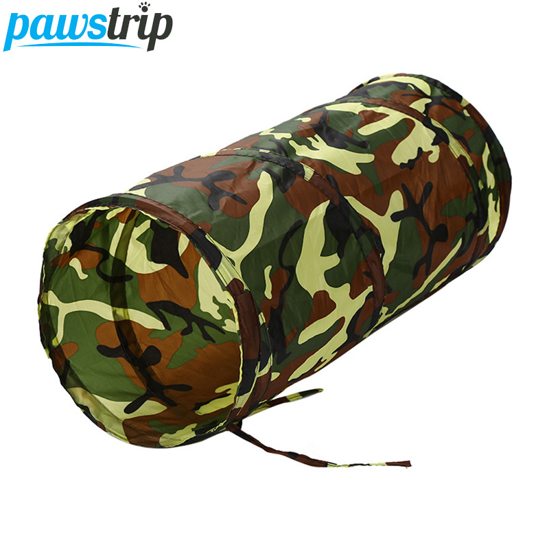 pawstrip 50cm Collapsible Cat Tunnel Toy Camo Waterproof Playing Interactive Pet Cat Toys With Ball