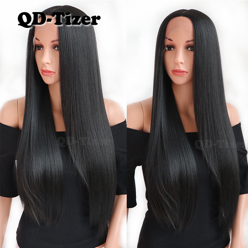Image 4 - QD TIZER Long Black Synthetic Lace Front Wig Silky Striaght Glueless Heat Resistant Fiber Lace Front Wigs Natural Hairline-in Synthetic Lace Wigs from Hair Extensions & Wigs