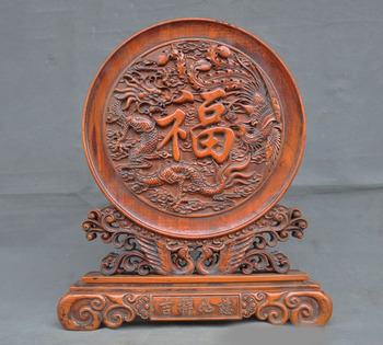 Wedding Decoration China Boxwood Wood Hand Carved Phoenix Bird Dragon Loong Statue  Screen Byobu
