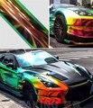 SUNICE A4 Sheet Rainbow Effect Chrome Film Wrap Car Body Vinyl Film Decor Automobile Exterior Air Release Bubble Free