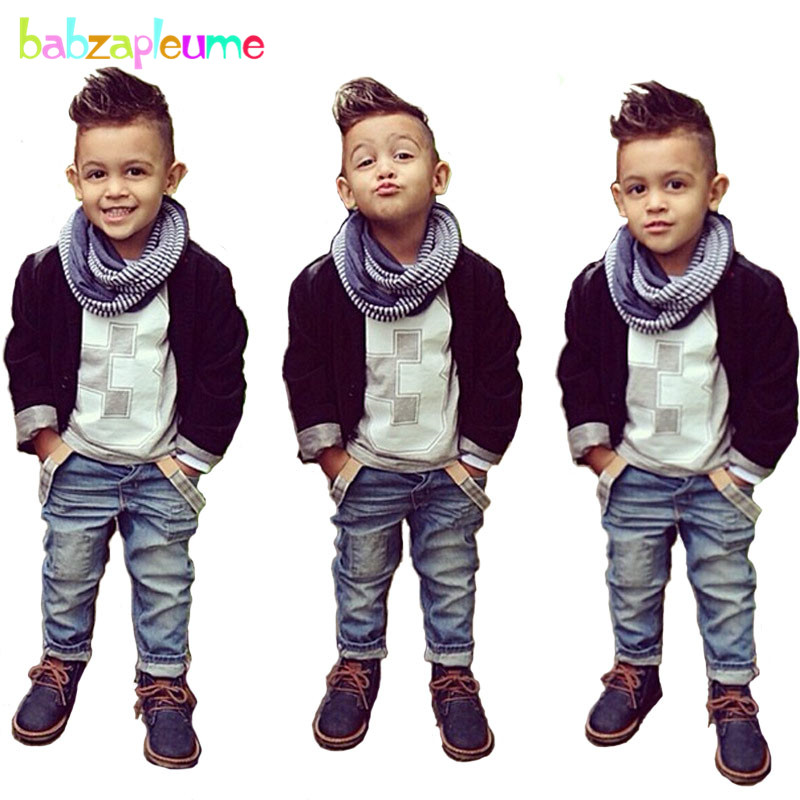 3T-8T Children Kidswear Casual Gentleman suit for boys Baby Boys Clothing set Coat+T-shirt+Jeans 3PCS boys set Kids Outfits A271