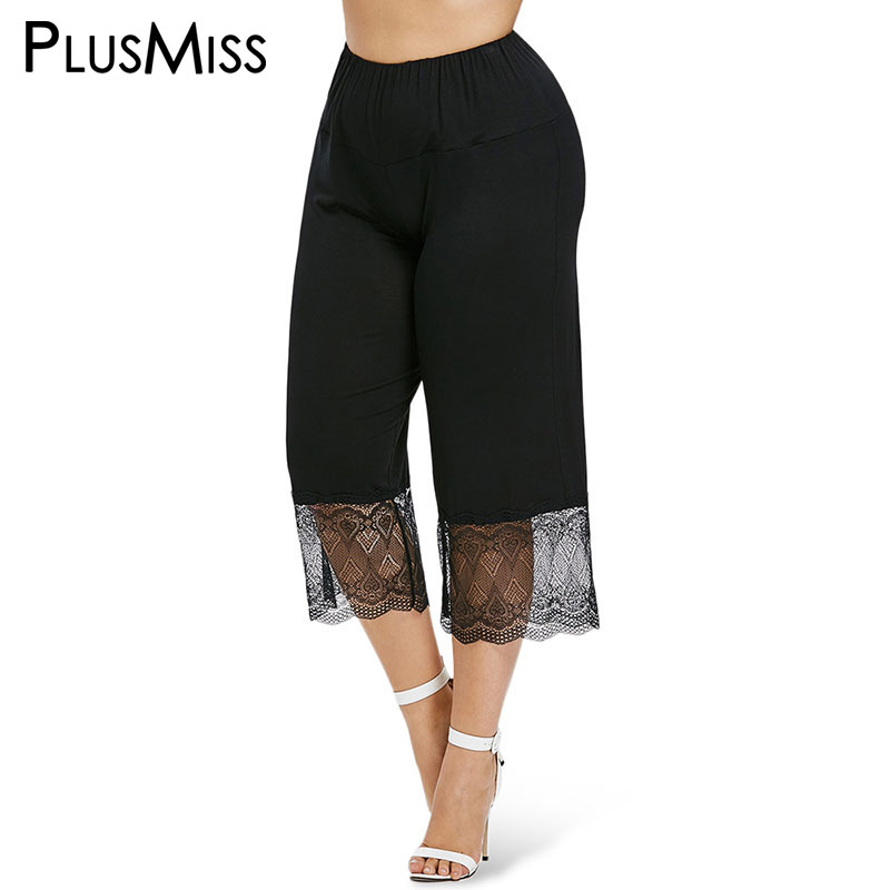PlusMiss Plus Size 5XL 4XL High Waist Black Lace Wide Leg   Pants     Capri   Women Clothing Big Size Loose Calf Length Trousers Summer