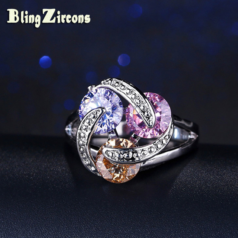 BlingZircons Famous Designer 3 Round Cut Purple Pink Champagne CZ Crystal Setting Silver 925 Ring For Women Wedding Jewelry R012