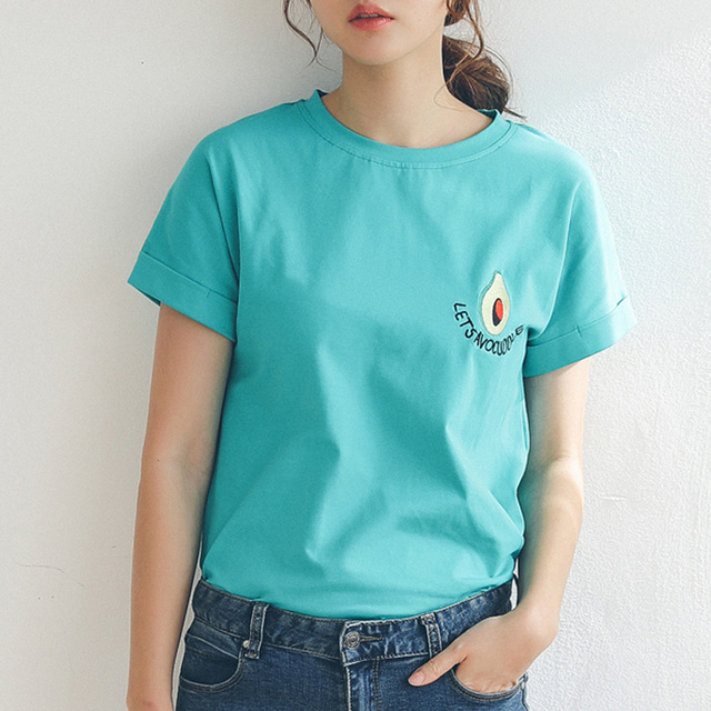 25c6bf97 2018 New Style Summer Avocado Embroidery T-shirt Women Short Sleeve Small  Fresh Casual Tees Tops loose female t-shirt korean