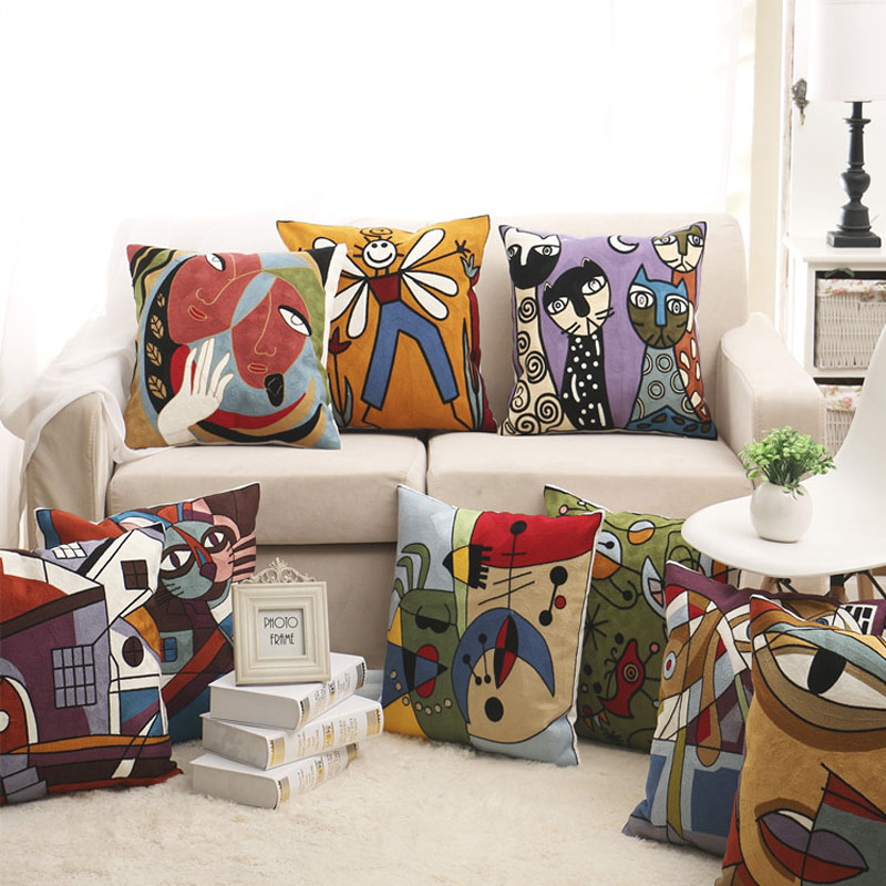 100% Cotton Picasso Style Embroidered Square Pillow Case Sofa Cushion Cover For Car Chair Cushion Case 45x45cm Without Stuffing