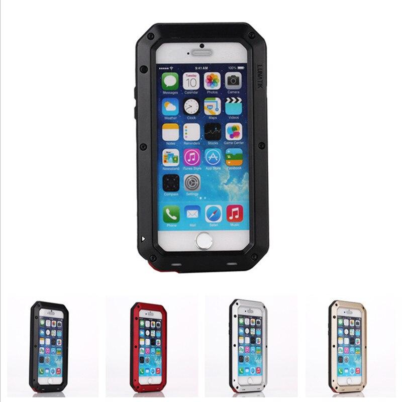 Stoßfest Aluminium Gorilla Metall Glas Telefonkasten Für IPhone 5 5 s 6 6 S 7 8 Plus X Leistungsstarke Hybrid Rüstung Volle Abdeckung Coque Shell