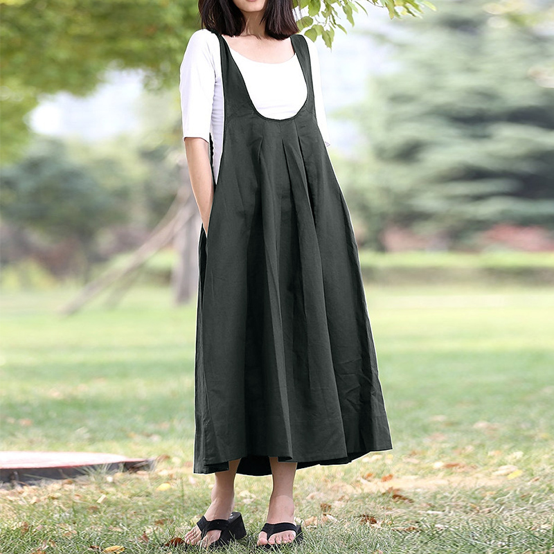 e816a1899e 2018 ZANZEA Vintage Women Summer Sleeveless Loose Casual Solid Suspenders  Overall Dress Cotton Linen Work Long