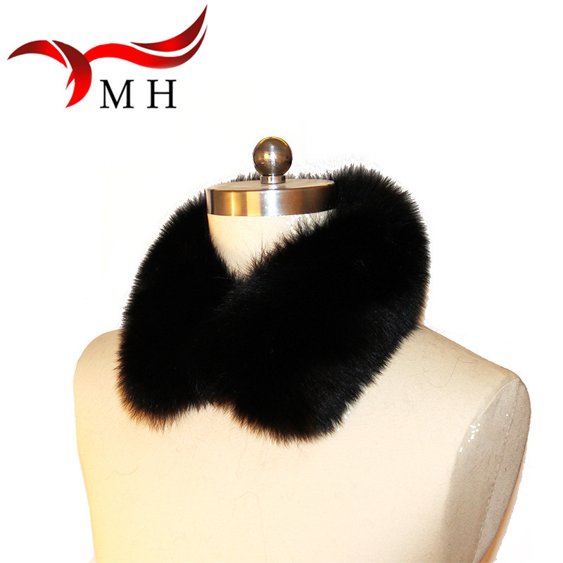 100% Real Fox Fur Collar Black Fox Fur Square Collar Ring Scarf Womens Genuine Natural Collar Accessories Scarf, Hat Glove Sets