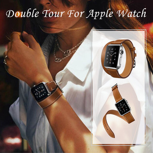 Image 2 - Long Soft Leather Band for Apple Watch Iwatch Series 6 5 4 3 2 40mm 44mm 38mm 42mm Double Tour Bracelet Strap for Smart Watch