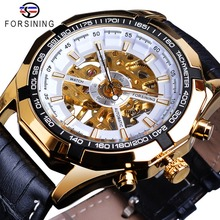 Forsining Men's Watches Top Brand Luxury Golden Hand Wind Mechanical Watch Male Waterproof Leather Band Clock Relogio Masculino sewor luxury brand men s antique watch gold skeleton wrist watches mechanical hand wind vintage leather clock relogio masculino