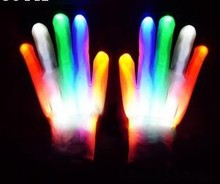 LED Light Glowing Gloves Finger Lighting Electro Rave Party Dance Skeleton Halloween New