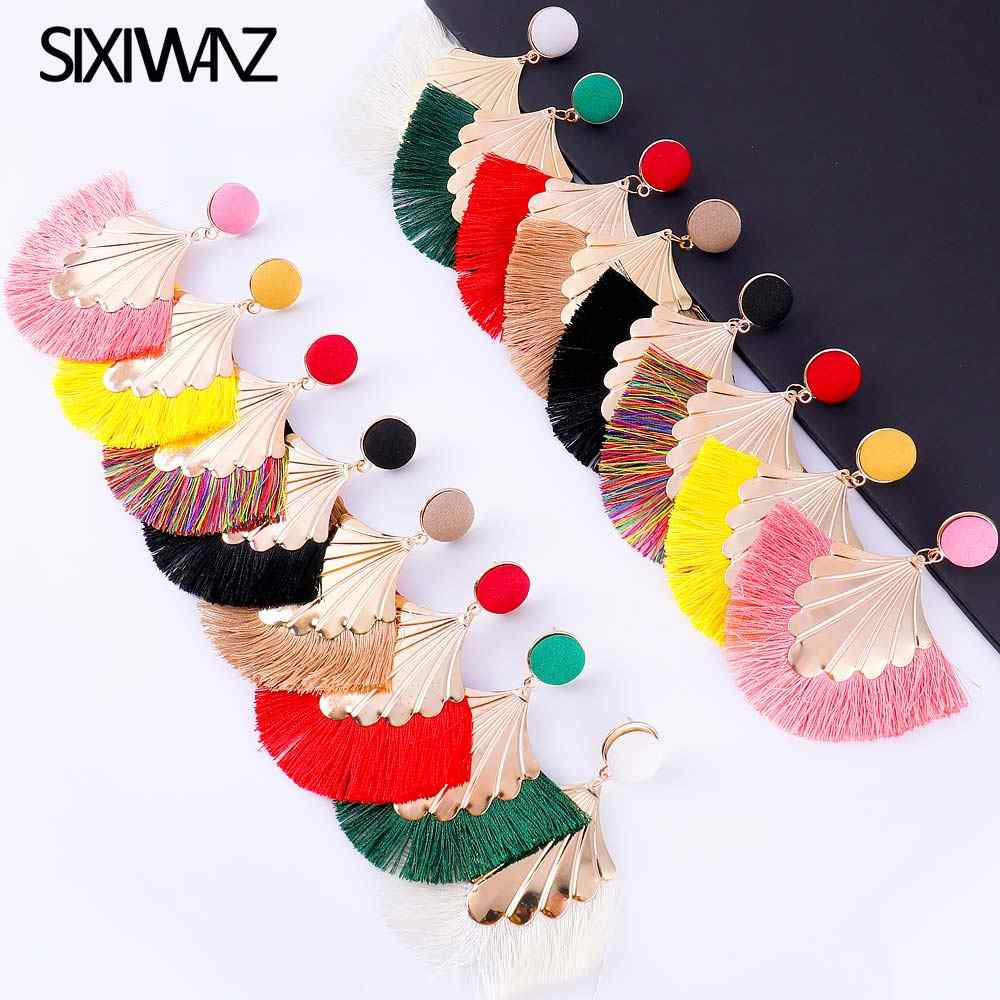 Богемные большие длинные серьги с ниспадающими кисточками для женщин ZA модные серьги с бахромой Роскошные ручной работы геометрические бахромы ювелирные изделия