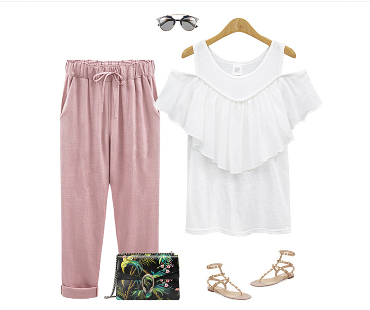 18 Wide Leg Pants Harem Pant Female Trousers Casual Spring Summer Loose Cotton Linen Overalls Pants Plus Size Candy Color 13