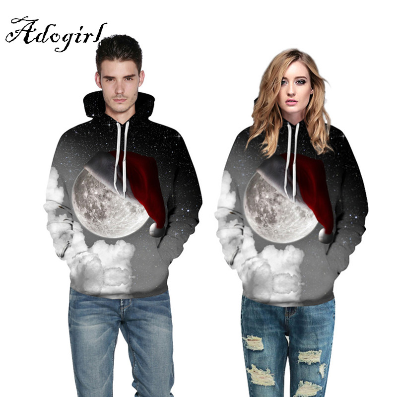 2017 Christmas Fashion Sweatshirts Unisex Men Women 3d Hoodies Print Earth Galaxy Space Santa Cap Thin Hooded Hoodies Pullovers