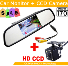 ANSHILONG HD Video Auto Parking Night Vision Reversing CCD Car Rear View Camera With 4.3 inch Car Rearview Mirror Monitor