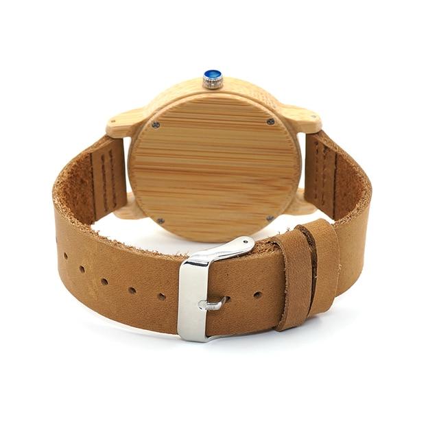 BOBO BIRD Lovers' Watches Women Relogio Feminino Bamboo Wood Men Watch Leather Band Handmade Quartz Wristwatch erkek kol saati 3
