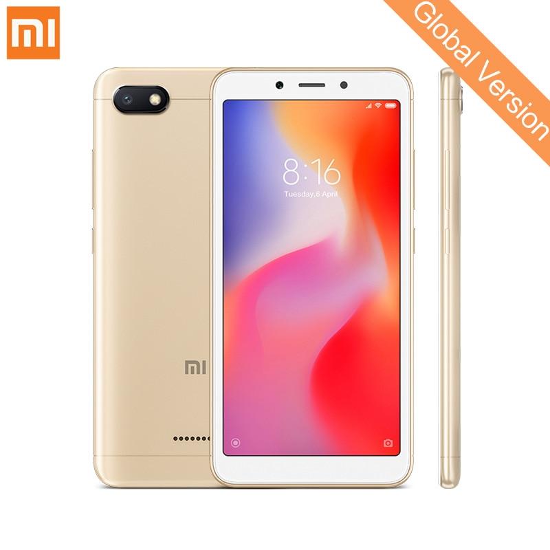 Em Estoque Global Versão Xiaomi Redmi 6A 2 gb 16 gb Mobile Phone 5.45 ''Tela Cheia Helio A22 Quad núcleo Câmera 13MP AI Cara Desbloquear