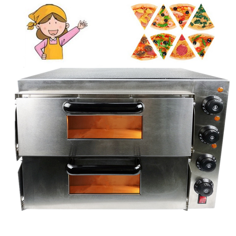 Home Use 3000W Stainless Steel Commercial Electric Pizza Oven With Timer 2 Layer Making Bread Pizza Cake Baking Oven 3000w stainless steel commercial electric pizza oven with timer 2 layer making bread pizza cake baking oven