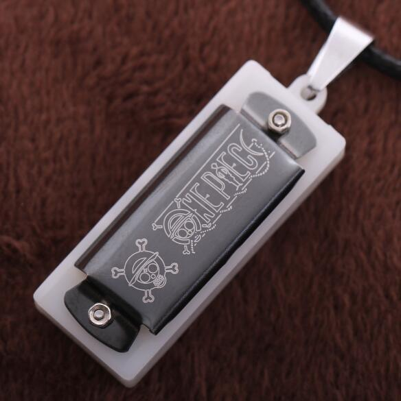 One Piece Harmonica Stainless Steel Comics Movie Game Cartoon Vintage Chain Necklace Pendant