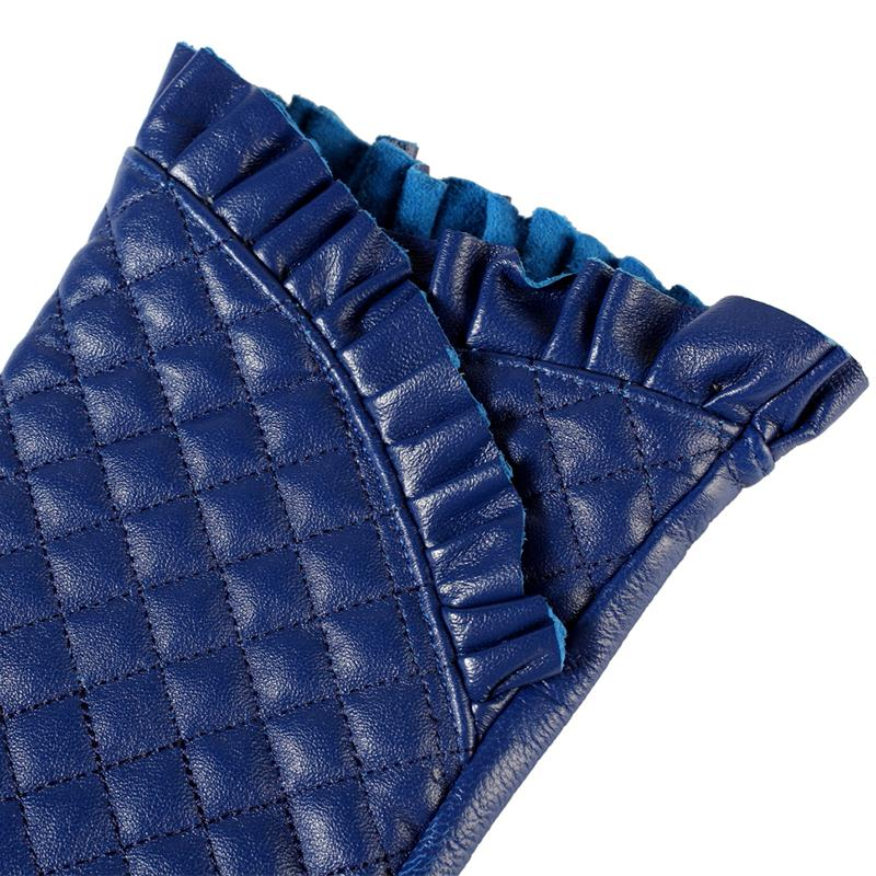 Image 5 - Gloves women,Genuine Leather,Cotton lining,blue leather gloves,leather gloves for women,Female gloves-in Women's Gloves from Apparel Accessories