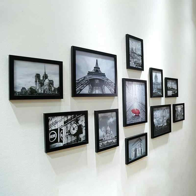 11pcs/Lot Wooden Multi Photo Frame Picture Frames Wall Hang Collage Black & White Colorful Set Wall Decoration Accessories