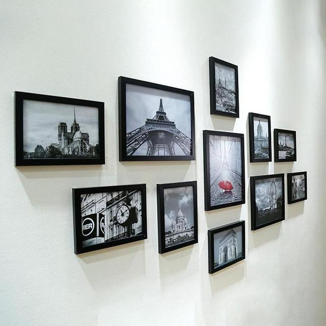 228b2448904 11pcs Lot Wooden Multi Photo Frame Picture Frames Wall Hang Collage Black    White Colorful