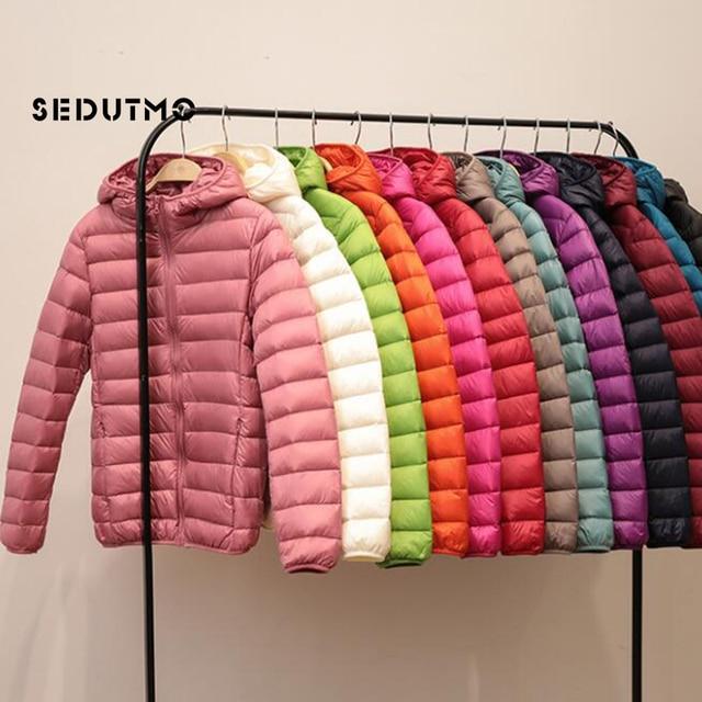 SEDUTMO Spring Womens Down Jackets Ultra Light Winter Duck Down Coat Short Hoodie Puffer Jacket Parkas ED659 5