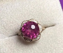 Natural 8*8mm Fireworks pink topaz gem Ring Natural gemstone Ring S925 silver elegant Triangle Pretty women's wedding jewelry
