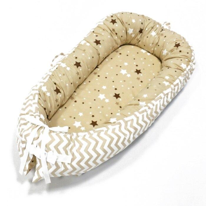 Детская кроватка-гнездо переносная съемная и моющаяся кроватка дорожная кровать для детей Младенческая Детская Хлопковая Колыбель - Цвет: Yellow wave N stars