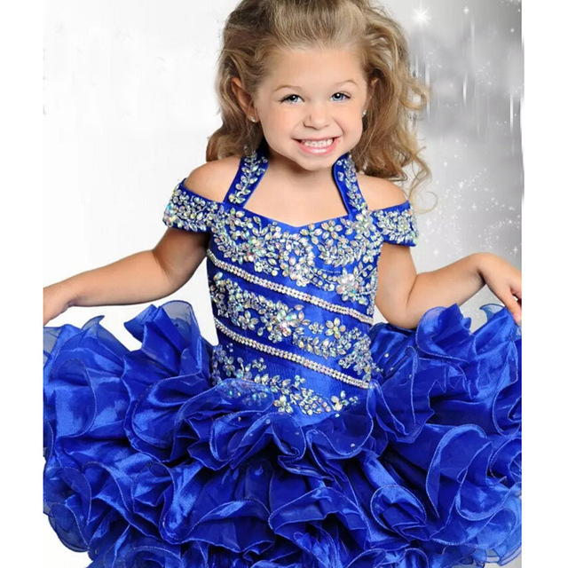 2017 Cute Royal Blue Cupcake Toddler Kids Girls Pageant Dresses Ball Gown  Beaded Sequined Organza Short Flower Girl Dress hf110 dc2fd1177356