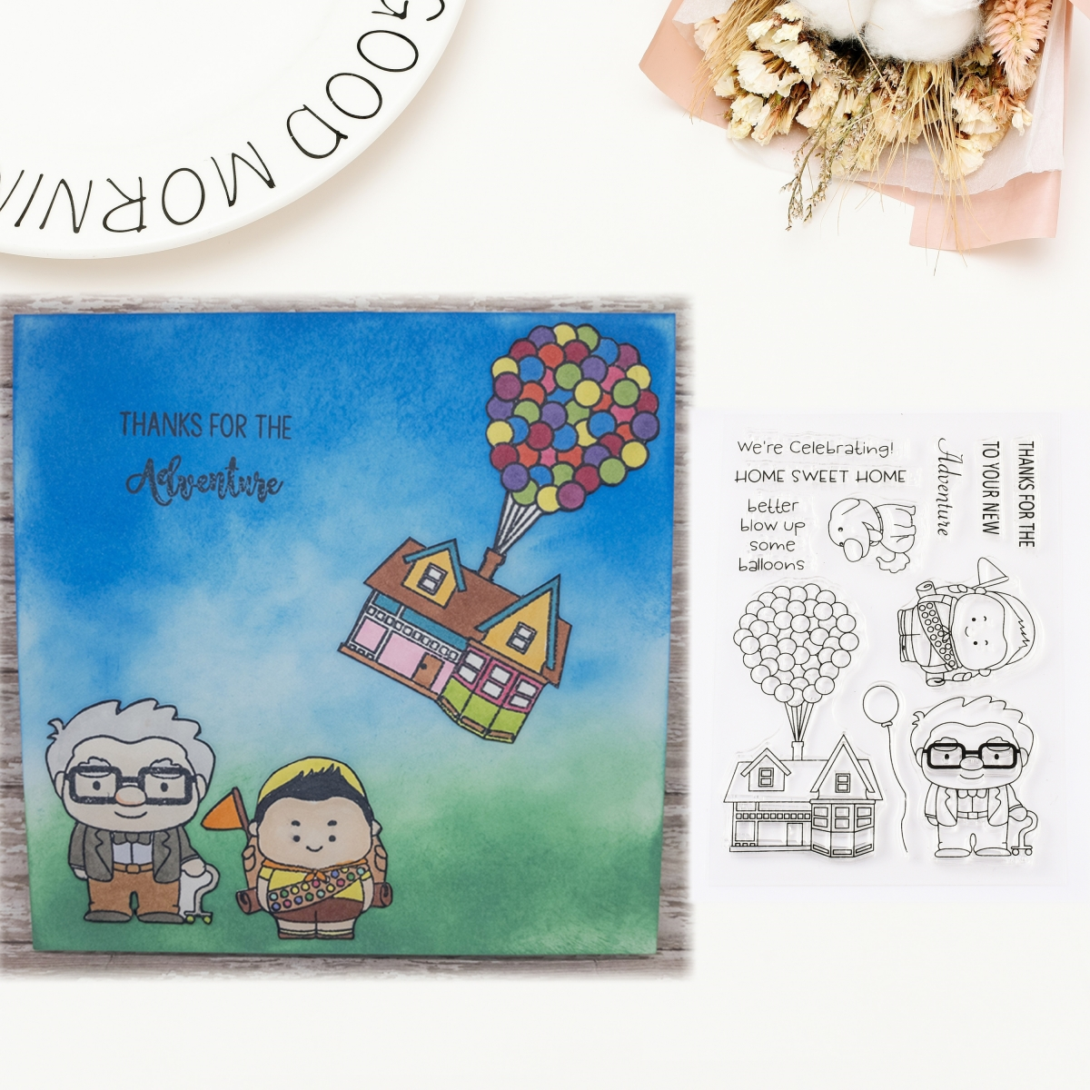 Old Man Balloon House Transparent Clear Silicone Stamp for Seal DIY Scrapbooking Photo Album Decorative Clear Stamp Craft Sheets