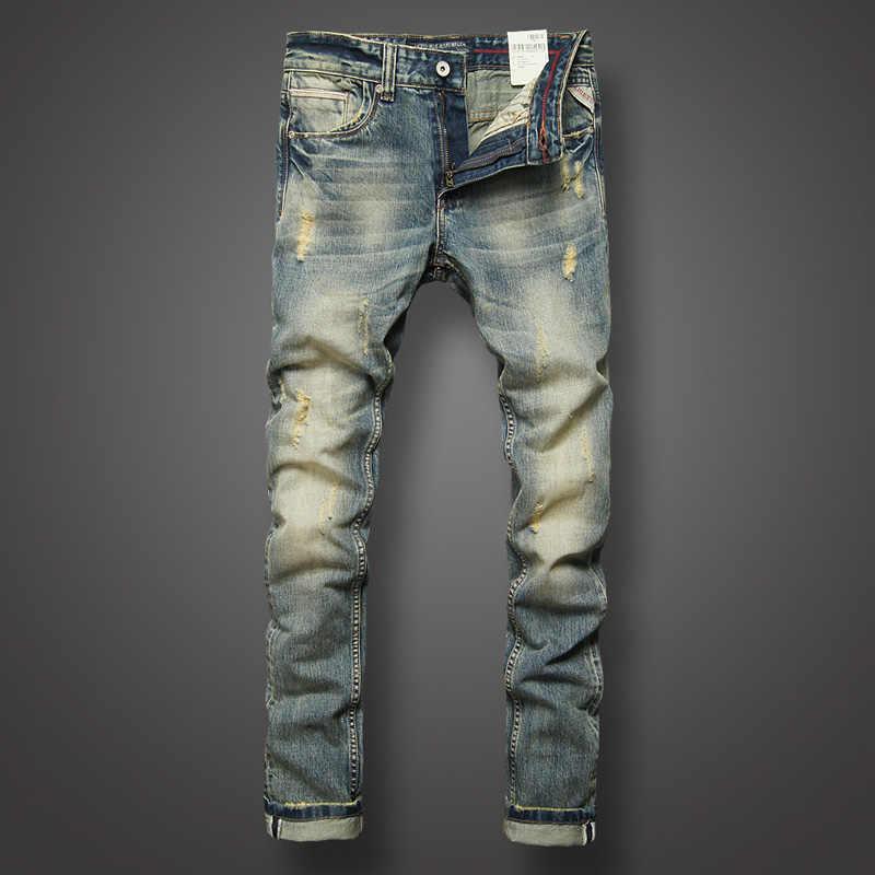 Jeans Italianos De Disenador De Moda Para Hombres De Alta Calidad Slim Fit Algodon Rasgado Jeans Denim Casual Pantalones Largos De Marca Jeans Clasicos Para Hombres Los Hombres De La Marca De Jeans Vaqueros