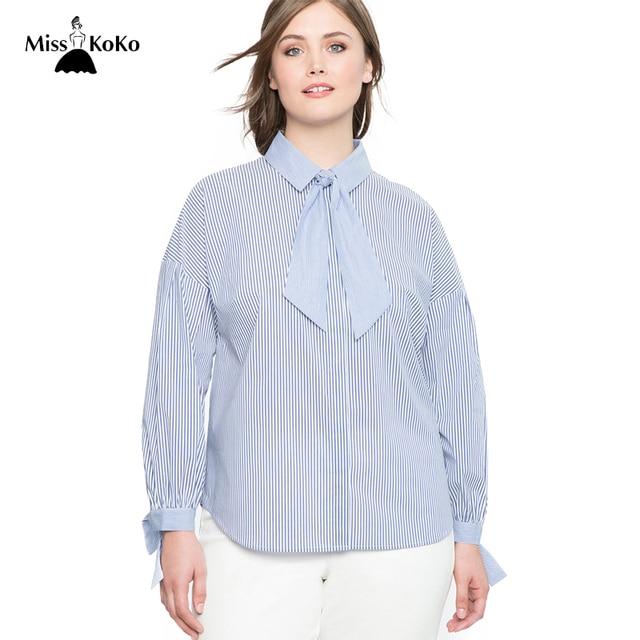 4e503c6b2ee Misskoko Women Plus Size Blouse Striped Cotton Tie Neck New Fashion Female  Shirt Office Lady Bow Big Size Tops 3XL-7XL