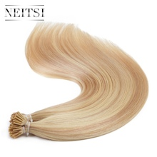 Neitsi Brazilian Straight Human Fusion Hair I Tip Stick Tip Keratin 100% Human Hair Extensions 20″ 1.0g/s 100g 5 Piano Colors