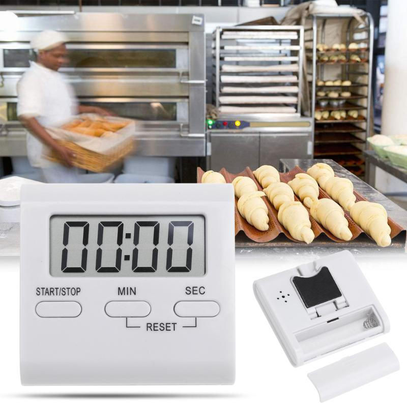 Square Mini Portable LCD Digital Table Countdown Magnet Alarm Clock DIY Kitchen Oven Cooking Timer Digital Table Clock