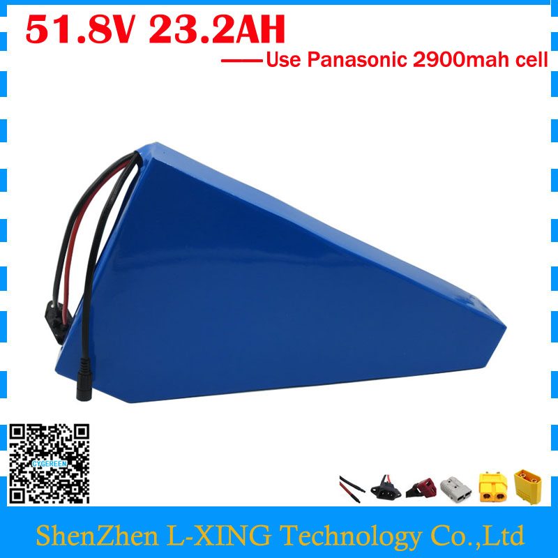 1500W 51.8V 23.2AH Triangle battery 52V Electric bike battery pack 52V 23.2AH Li-ion battery with bag use Panasonic 2900mah cell lithium ion battery pack use for panasonic 2900mah cell bike battery pack 36v 15ah hailong 36v 14 5ah li ion battery 2a charger