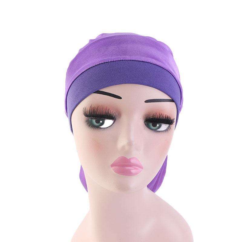 Image 3 - Women Wide Elastic Band Satin Bonnet Turban Braid Baggy Cap Hair  Care Chemo Hat Muslim Bonnet Islamic Beanies Skullies FashionWomens  Skullies