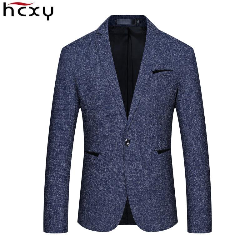 HCXY 2019 New Spring Autumn Casual Men Blazer Cotton Slim Suit Jackets Blaser Masculino Male Jacket Blazer Men Size M-5XL