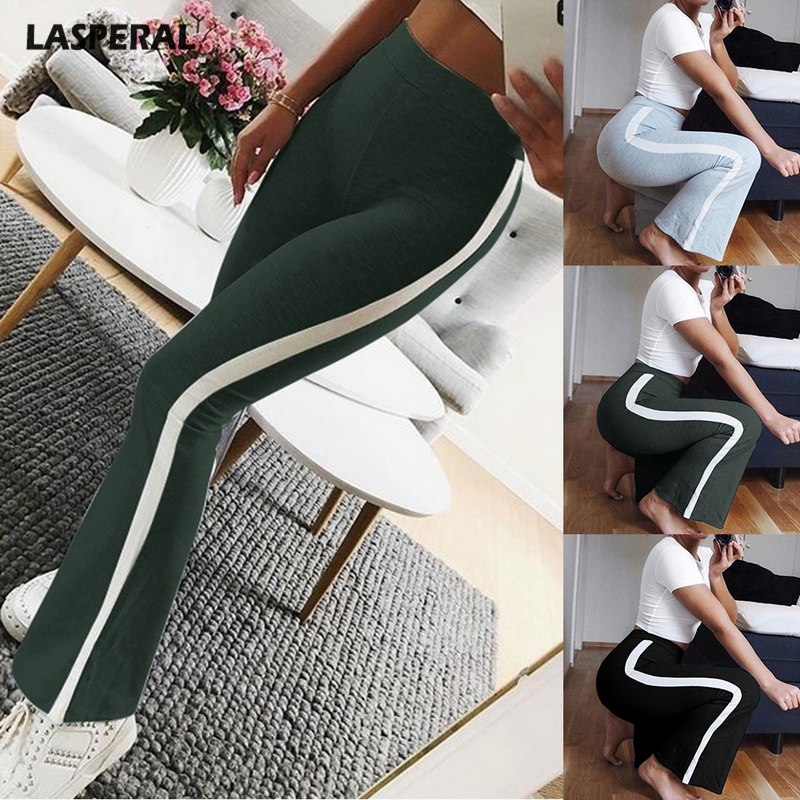 LASPERAL 2018 Fashion Women Loose Sweatpants Wide Leg Pants Striped Pant  Women Capris High Waist Pant Street Wear Female Trouser 855414085aab