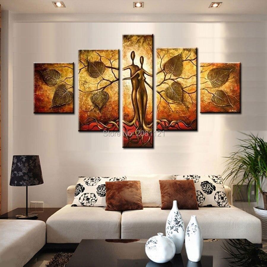 Peinture à l'huile d'idée peinte à la main | Toiles modernes abstraites 5 pièces, maison d'art murale de musique, décoration d'images