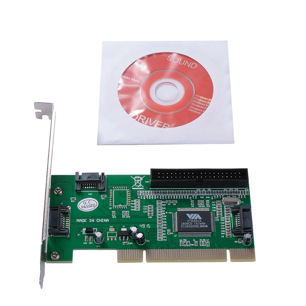PCI to 3 Ports SATA + IDE Combo Controller Card Adapter Converter VIA6421 Chip HDD AC388 8 SL@88